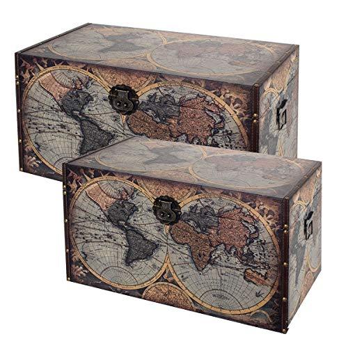 Set de 2 Taburetes-Baúles Decorativos de Madera y Pvc