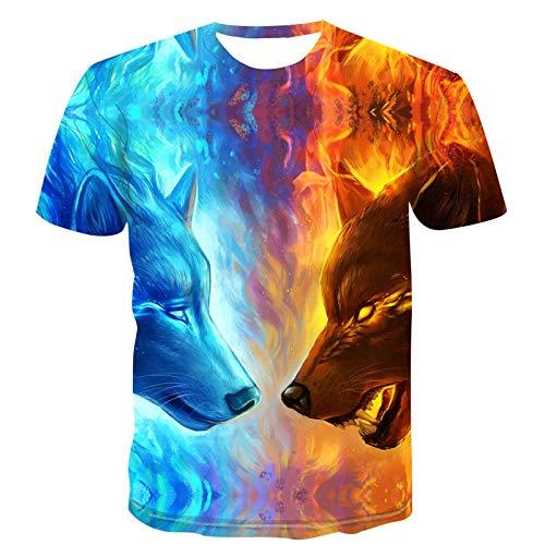 SSBZYES Camiseta para Hombre, Camiseta De Verano De Manga Corta con Cuello Redondo, Camiseta De Gran Tamaño para Hombre, Camiseta con Estampado Animal De Moda para Hombre, Sudadera para Hombre, Lobo