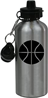 Personalized Custom Basketball Aluminum Silver Finish 20 Ounce Water Bottle Customizable