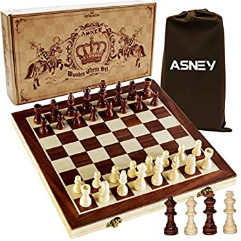 """ASNEY Upgraded Magnetic Chess Set 15"""" Tournament Staunton Wooden Chess Board Game Set with Crafted Chesspiece & Storage Slots for Kids Adult Includes Extra Kings Queens & Carry Bag"""