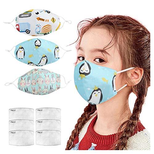 𝐌𝐚𝐬𝐜𝐚𝐫𝐢𝐥𝐥𝐚 Reutilizables Lavables niños,con 4 Piezas de Filtro de carbón Activado PM2.5, con válvula de respiración Bandana para ProteccióN Facial (B)