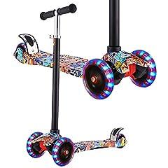 WeSkate Scooter Kids Trójkołowy skuter z PU Shining Wheels, regulowana wysokość i podwójne tylne koła Big Wheels Skuter dla dzieci Boys Girls 3-12 lat
