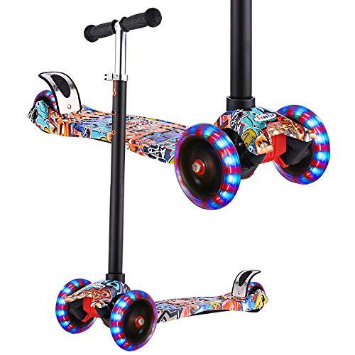 WeSkate Roller Kinder Dreiradscooter mit PU Leuchtenden Räder, einstellbaren Höhe und Doppel-Hinterrad Big Rädern Kinderscooter für Kinder Jungen Mädchen 3-12 Jahre alt