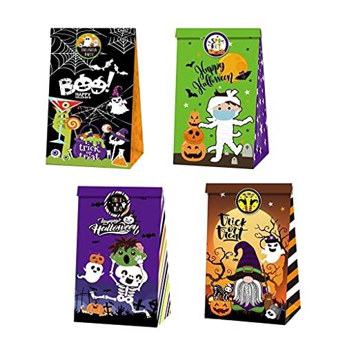 12 unids Halloween Bolsa de caramelo de Halloween Impresin creativa Cumpleaos Bolsa de regalo de caramelo Partido de Halloween Bizcocho Bolsa de papel Bolsa de papel para Suministros de fiesta de Ha