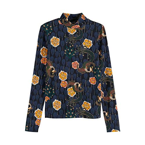Scotch & Soda Maison Womens Printed Long Sleeve Tee with high Neck T-Shirt, Combo A 0217, XS