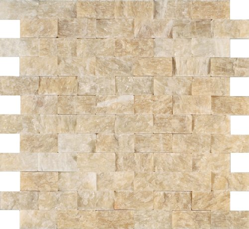 Arizona Tile ST-306 Sterling 12 by 12-Inch Stone Mosaic, Honey Onyx Split Face, 3-Pack