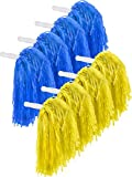 Pangda 12 Pack Cheerleading Pom Poms Sports Dance Cheer Plastic Pom Pom for Sports Team Spirit Cheering (Blue and Yellow)