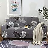 ASCV Patrón de Hoja Spandex Funda de sofá Estiramiento en Forma de L Funda seccional Loveseat Sillón Funda de sofá para Sala de Estar A2 2 plazas