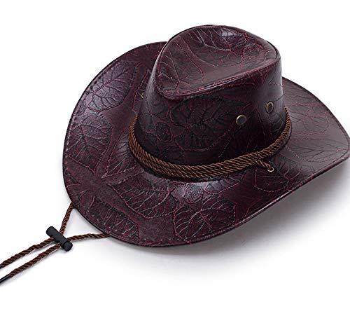 ZHAOSHOP Printed Western Cowboyhut Männer und Frauen Persönlichkeit großes Visier Visier Kunstleder Ritter Hut mongolischen Hut Wiese Sonnenhut großen Hut