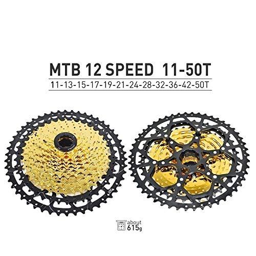 HIGHER MEN VTT Cassette 10 11 12 Vitesse 11-40T 42T 46T 50T Vélo de Montagne Vélo Roue Libre Pignons for Shimano SRAM Sunrace Pièces vélo (Color : 12S 11 50T)