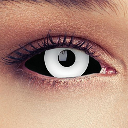 "Designlenses, Dos Sclera lentillas de color negro y blanco para Halloween 22mm Zombie lentillas de seis meses sin dioprtías/corregir + gratis caso de lente ""White Beast"