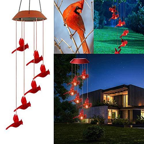 Luz de Carillón de Viento de Pájaro Rojo Cardenal con Energía Solar, Carillón de Viento de Colibrí Solar Led para Decoración de Jardín de Noche