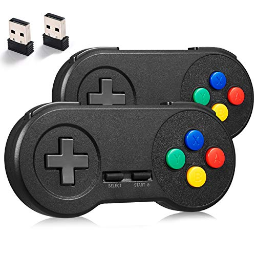miadore 2Pack 2.4GHZ Wireless SNES Controller for SNES/NES Classic PC Games,Rechargeable USB Controller Wireless Game Controller Gamepad for Windows PC MAC Linux Raspberry Pi Retropie Emulator (Black)