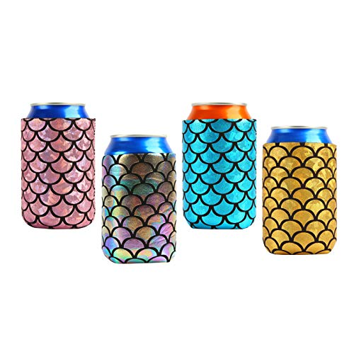 Insulated Can Cooler Holder,4 Neoprene Insulators Fish Scale Pattern Beer Can Sleeves,Bottle Thermos,Reusable Drink Coke Cover for Weddings Barbecue Bachelorette Party Birthday Events Activities A