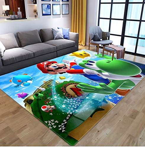 weiyibaobei Tapis Rectangle Dessin Animé Anime Super Mario Jeu Tapis Sol Chambre Anti-Dérapant Tapis Salon Chambre Salle De Bain Anti-Dérapant Lavable 60 * 90 Cm