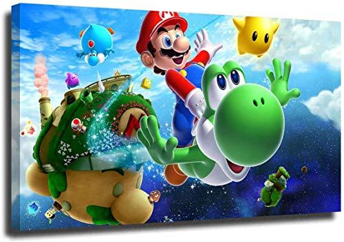 Wandbild auf Leinwand, Motiv Mario Game Room, Dekoration Mario und Yoshi Videospiel – Wandkunst, bedruckt, Wanddekoration – ohne Rahmen (B,(40 x 60) cm)