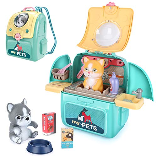 LBLA Tierarzt Rollenspiel Arztkoffer Lernspielzeug mit Rucksack Spielzeug für Kinder Junge Mädchen ab 3 4 5 Jahre