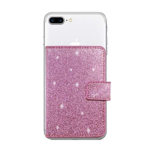 CASZONE Universal Flip Card Holder for Back of Phone Slim Sparkle PU Leather Stick On Wallet Case [3M Adhesive] Magnetic Closure Credit Card ID Card Slots Pocket for Apple/Android, Glitter Purple