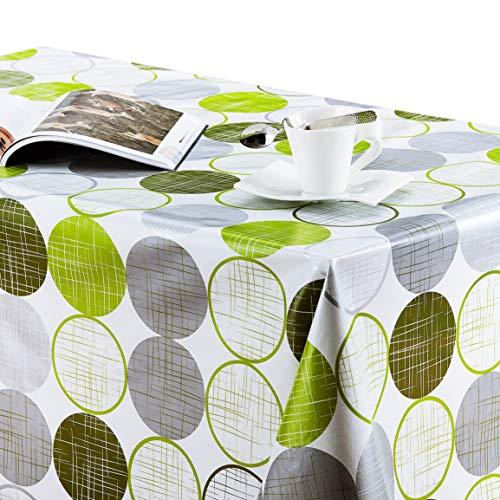 KP HOME Manteles Hule Modernos Hojas PVC Fácil de Limpiar - Grande Rectangular 300 x 140 cm Plastico Mesa de Vinilo Plastificado Fácilmente Mantel Verde Lima círculos Verde