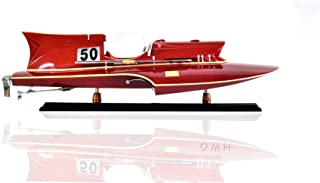 Old Modern Handicrafts Ferrari Hydroplane Medium Wooden Model Speedboat One Size Red