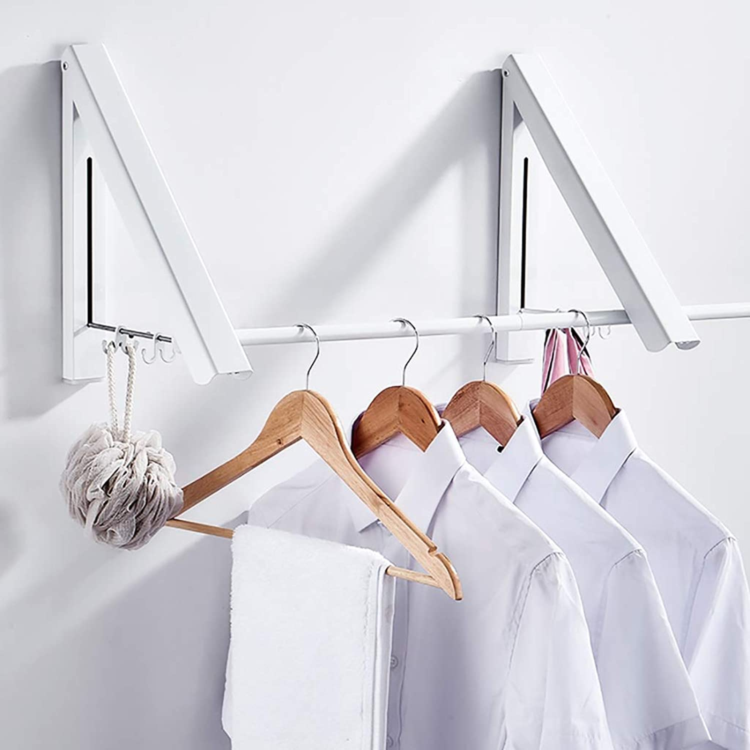 Space Aluminum Bathroom Wall Hanging Folding Drying Rack Balcony Wall Coat Rack White Three Specifications. (Size   40cm)
