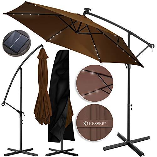 KESSER® Alu Ampelschirm LED Solar Ø300cm + Abdeckung mit Kurbelvorrichtung UV-Schutz Aluminium mit An-/Ausschalter Wasserabweisend - Sonnenschirm Schirm Gartenschirm Marktschirm Braun