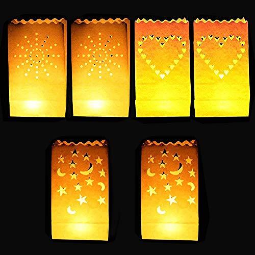 DECARETA 30 PCS Bolsas Decorativas para Velas,Linternas de Papel Bolsas con 3 Formas,Bolsas de Luz Pantalla Papel Luminaria de Velas para Hogar Fiesta Romántica Decoración de la Boda
