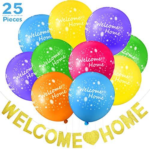 25 Stücke Willkommen Zuhause Dekoration Set inklusiv 24 Stücke Willkommen Zuhause Tropisch Ballon und Willkommen Zuhause Banner mit Gold Glitzer Girlande für Haus Dekoration Familien Party Bedarf