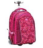 Belmil 2-in-1 Schultrolley Schulrucksack - Schultasche mit Rollend und Laptopfach für Kinder Mädchen/Pink/Fuchs (338-45 Foxy)