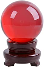 MerryNine Photograph Decoation Crystal Meditation Ball with A Redwood Resin Stand, K9 Crystal Suncatchers Ball, Home Decoation Ornaments, Photography Accessory(80mm/3.15