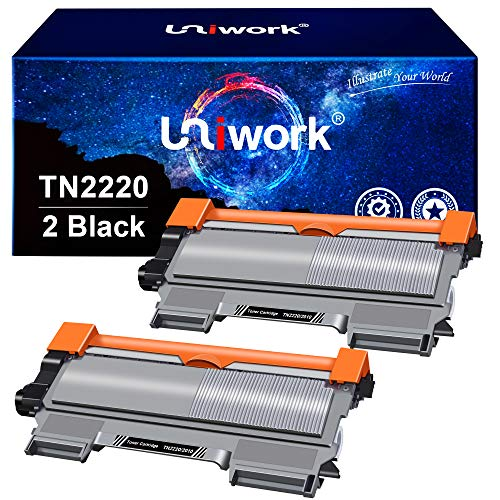 Uniwork TN2220 TN2010 Kompatibel Toner Ersatz für Brother TN-2220 TN-2010 für Brother MFC-7360N HL-2130 HL-2240 MFC-7460DN DCP-7055 HL-2240D HL-2250DN HL-2270DW DCP-7060D 7070DW FAX-2840, 2 Schwarz