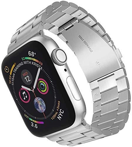 Craftsboys - Correa de repuesto para Apple Watch (42 mm, 44 mm, acero inoxidable, correa ajustable, compatible con iwatch Series 1, 2, 3, 4 y 5 (38 mm, 40 mm), color plateado