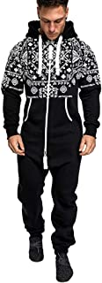 Men's Jumpsuit Men's Pattern Printed Zipped Hooded Jumpsuit Autumn Winter Warm Romper with Hood