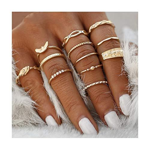 IYOU Vintage Midi Ring Sets Goud Kristal Knuckle Stapelen Ringen Boho Mid Ringen Sieraden voor Vrouwen en Meisjes(12st)