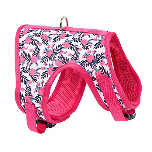 Mile High Life | Easy Step in Air Mesh Vest Harness | Spring Floral Collection | Adjustable Easy Closures Both Neck and Chest |20 lbs Small Dogs & Cats | Peony | M Chest Size (18