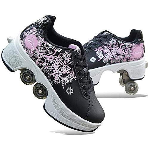 Fbestxie Mehrzweckschuhe Deformation Skateboardschuhe Quad-Rollschuh Schuhe Rollen Skates Skating Turnschuhe Für Erwachsene Kinder,I,42
