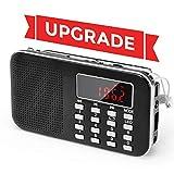 Radio de Transistor portátil pequeña, L-218 Radio Am/FM Digital de Bolsillo con Tarjeta Micro TF Reproductor de MP3 de Entrada Auxiliar de Disco USB, por PRUNUS(Negro)