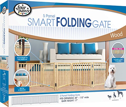"""Four Paws Freestanding Walk Over Pet Gate Size: 17.5"""" H x 48"""" x 110"""" W x 4.25"""" D, Style: 5 Panel"""