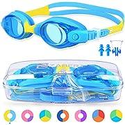 ZABERT Schwimmbrille für Baby Kleinkinder, KX Schwimmbrillen Kinderschwimmbrille Chlorbrille für Baby Kleinkinder Kleinkind Kinder Kind Junior Jungen Mädchen 0 1 2 3 Jahre Blau Gelb Zitron