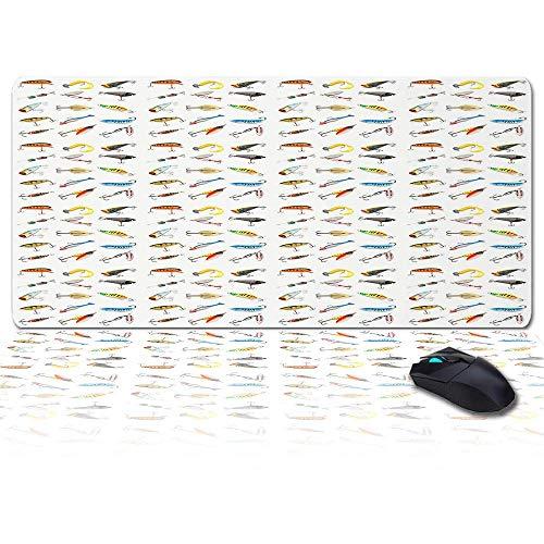 Großes Gaming-Mauspad Volles Schreibtischpad - Verschiedene Angelhaken, rutschfeste Gummibasis Ergonomische XXL-Tastaturmatte für Laptop- / Computer- / Schreibtischzubehör
