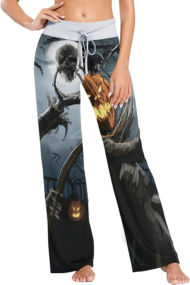 Weekly update QUZtww Spooky Halloween New products, world's highest quality popular! Pajama Pants Stretch Trousers Sleep Wide