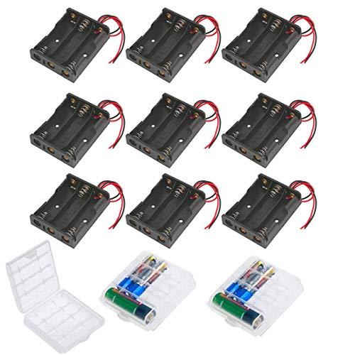 HUAZIZ 9 Pezzi 3 x 1.5V AA Custodia per Batteria, 3aa Battery Clip Battery Holder Batteries Case con Cavi,Titolare Caso Batteria, Cassa di Batteria di Plastica AA Porta Batterie con Cavi 110mm 3 Slots