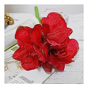 JiaQinHe Remains Artificial Amaryllis Flower Branch Fleurs Artificielles for Home Table Wedding Decoration Fake Silk Flowers Hippeastrum Flores Never