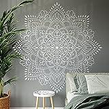 Accesorios modernos de decoración del hogar Mandala pegatinas de pared decoración interior sala de estar dormitorio Mehndi Yoga calcomanías de flores A12 57x57cm