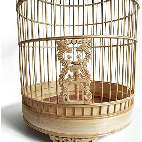 WRJ La Jaula De Pájaros Boutique Jaula De Pájaro De Bambú Jaula del Pájaro De Bambú Jaula del Loro Pigeon Redondo Antiguo Ampliable Jaula Pajarera para Periquitos, Canarios Y Pinzones,Amarillo