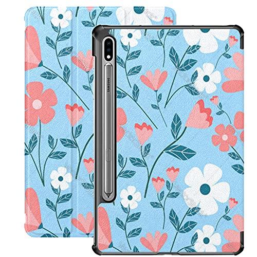Funda para Galaxy Tab S7 Funda Delgada y Liviana con Soporte Funda para Samsung Funda para Galaxy Tab S7 Tablet 11 Pulgadas Sm-t870 Sm-t875 Sm-t878 2020 Release, Colorful Flower Blue