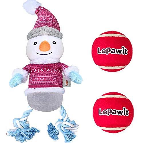 Lepawit 3pcs Christmas Dog Plush Toy, Snowman(13inch) +2 Balls Dog Squeaky Toy with Ropes Dog Toy Set Reinforced Fabric for Medium Large Dogs
