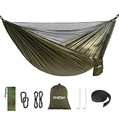 Double Single Camping Hammock, Portable Hammock with Net and Tree Straps, Lightweight Parachute Nylon Hammock for Backpacking Travel Beach Yard Outdoor Indoor(Brown)