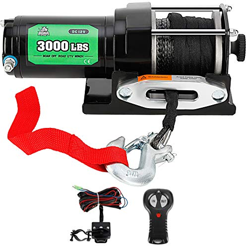 3000LB. Load Capacity Electric Winch Kit for ATV/UTV with Wireless Handheld, OFF ROAD BOAR 12V Powersports Winch with Wireless Handheld Pemote and Wired Handle(Synthetic Rope)