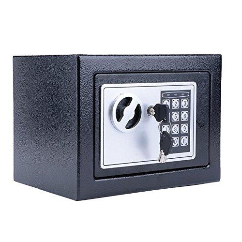 Mymotto - Cassetta di sicurezza/cassaforte elettronica con codice e 2 chiavi, 23 x 17 x 17 cm